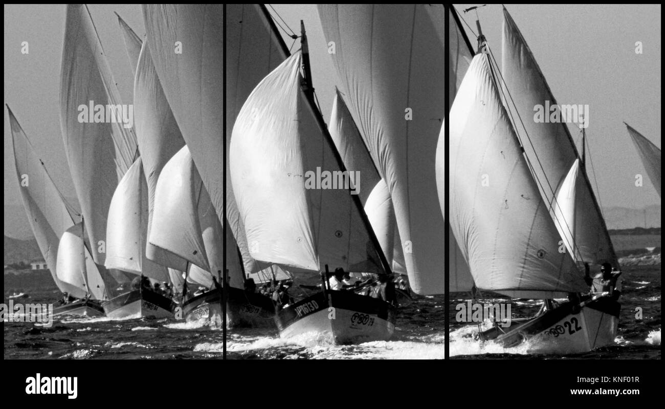 Stintino, Sardinia. Lateen sail regatta (Triptych: picture molded into 3 fields for printing decorative panels) - Stock Image