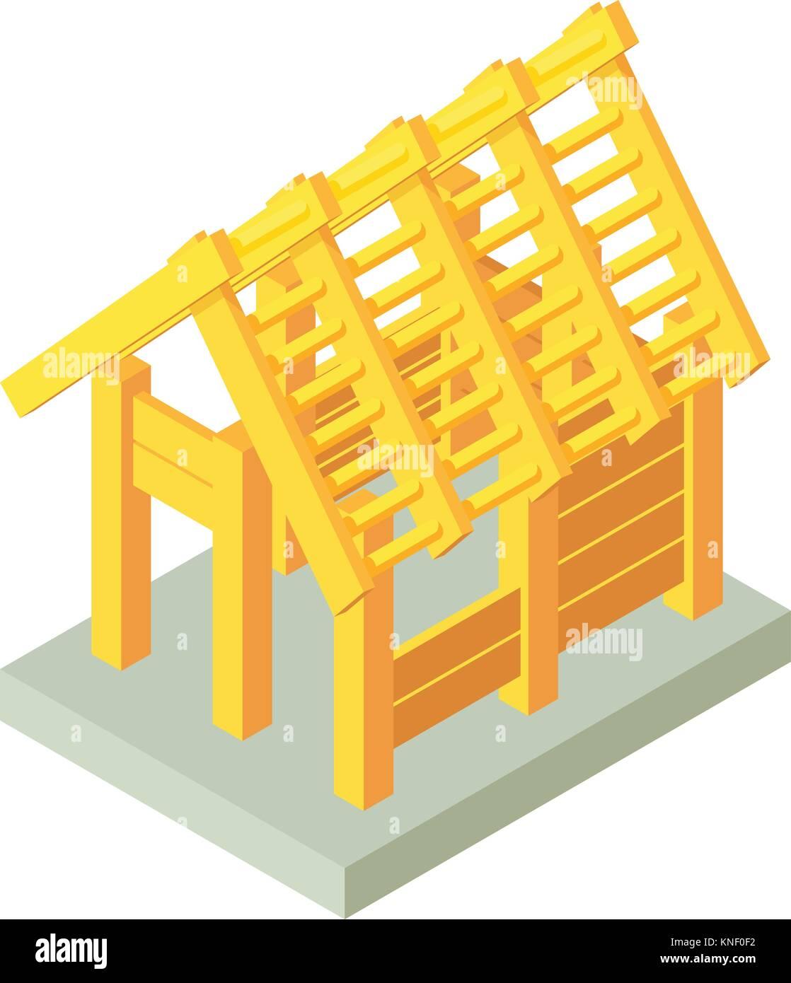 Construction Pergola Bois Plan building construction wood icon, isometric 3d style stock