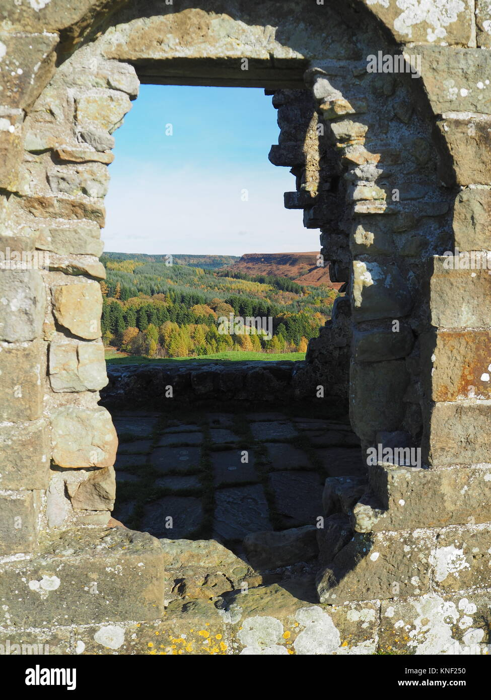 View through a window of the ruins of Skelton Tower - Stock Image