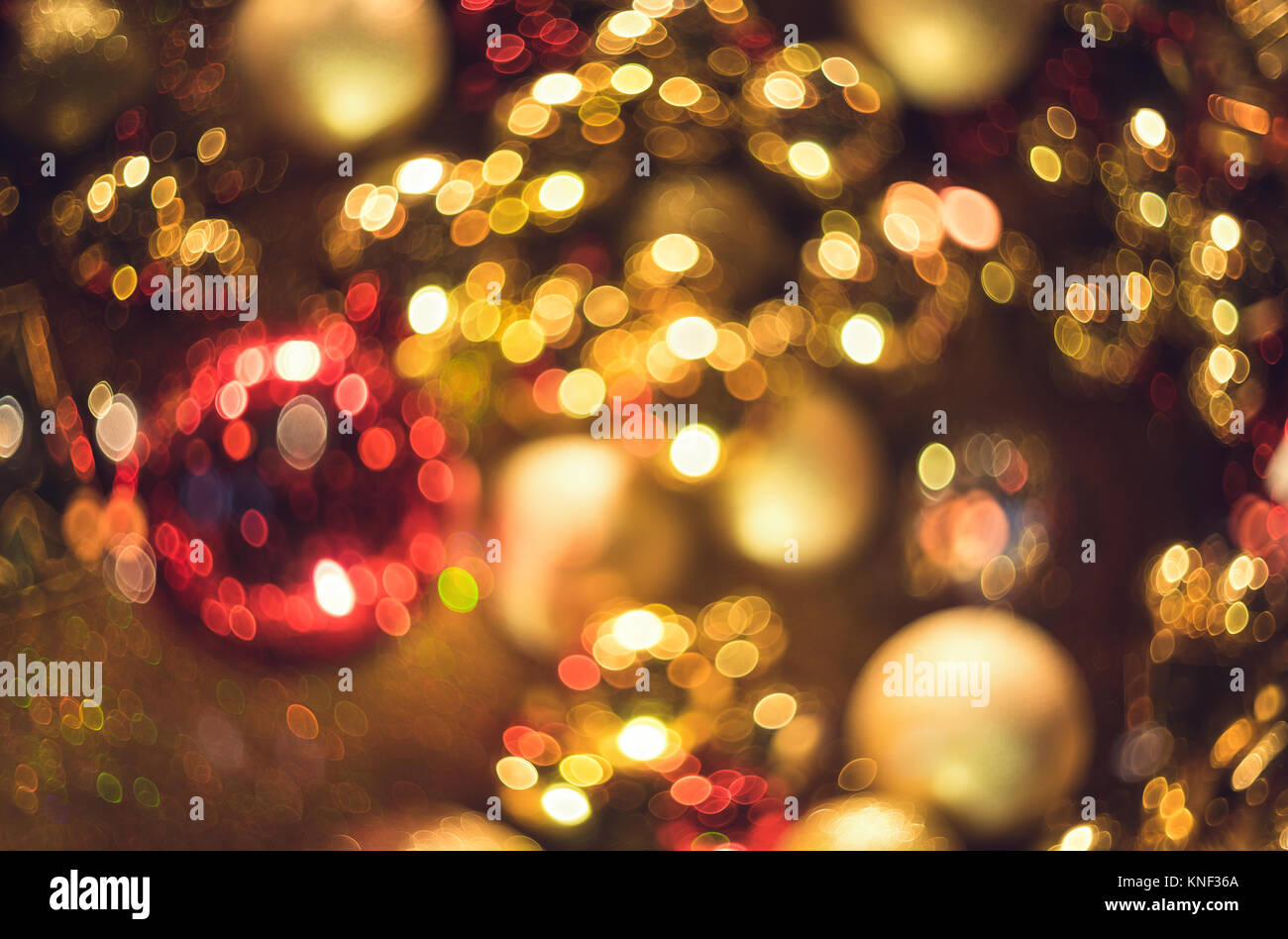 Bokeh. New Year gold bokeh background. Abstract background with colorful bokeh. Defocused. Background for Christmas Stock Photo
