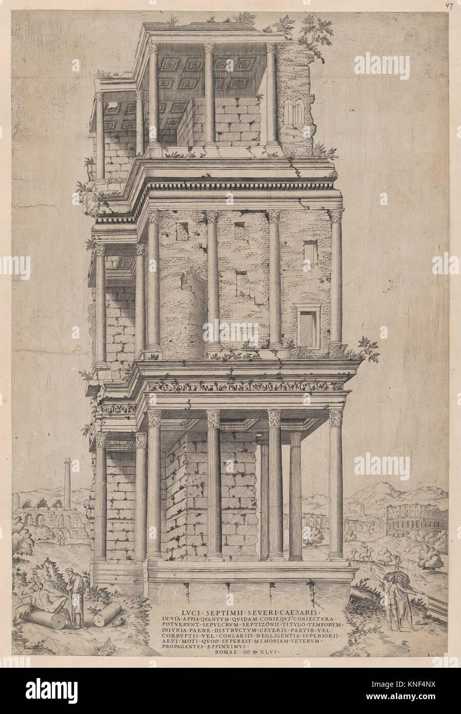 Speculum Romanae Magnificentiae: The Septizodium. Series/Portfolio: Speculum Romae Magnificentiae; Artist: Anonymous; Stock Photo