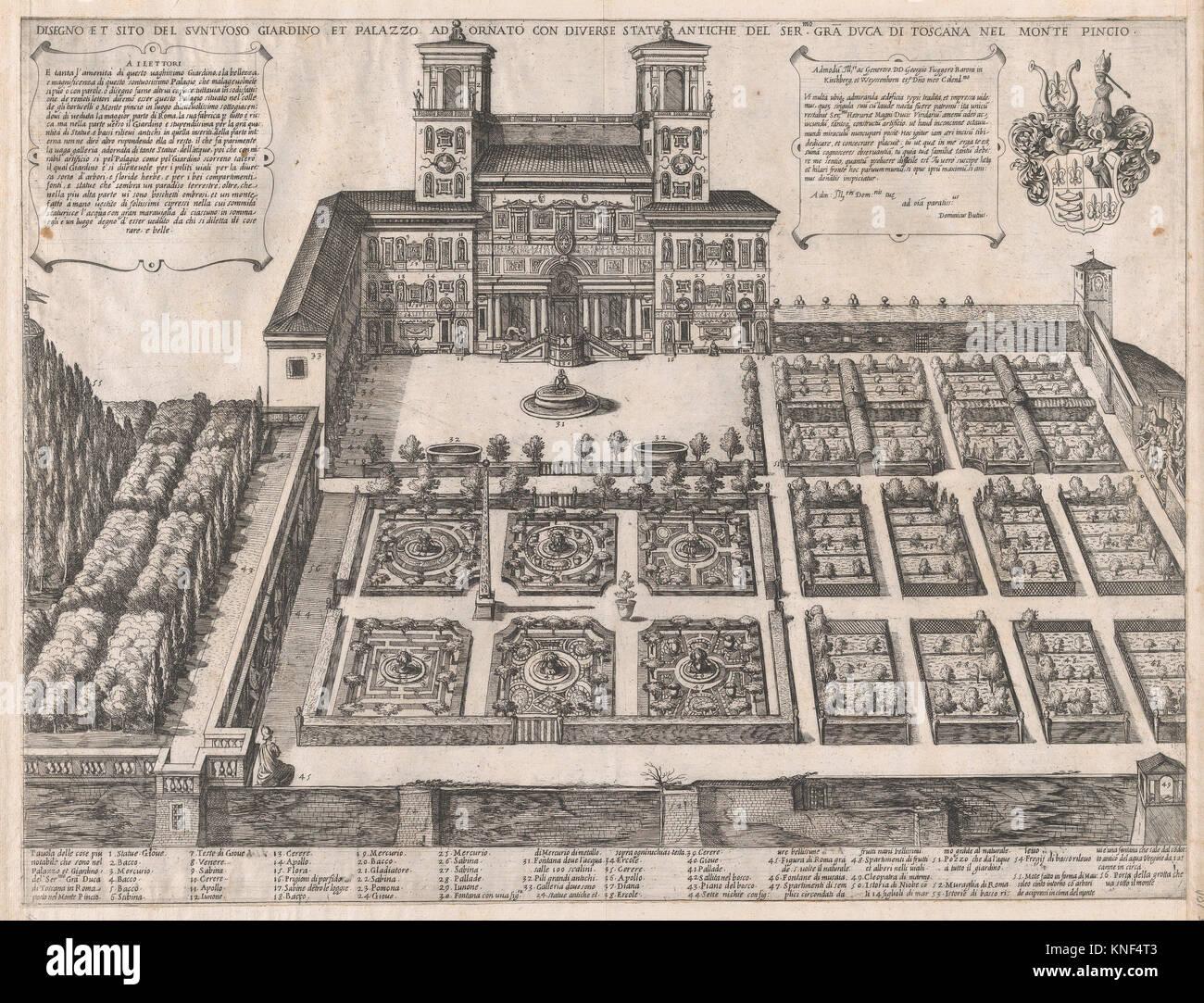 Speculum Romanae Magnificentiae: Monte Pincio Palace and Gardens. Series/Portfolio: Speculum Romanae Magnificentiae; - Stock Image