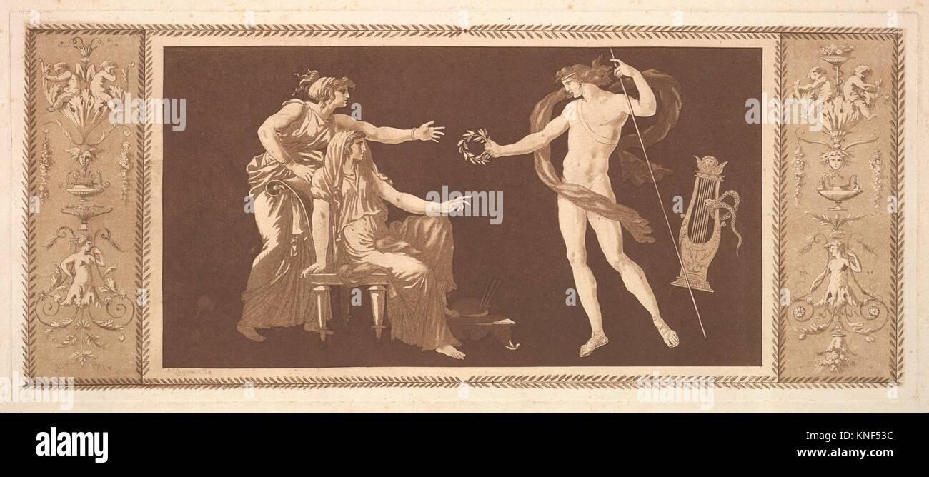 Apollon couronnant les arts (Apollo Crowining the Arts), from Recueil de Différentes Compositions Frises et - Stock Image
