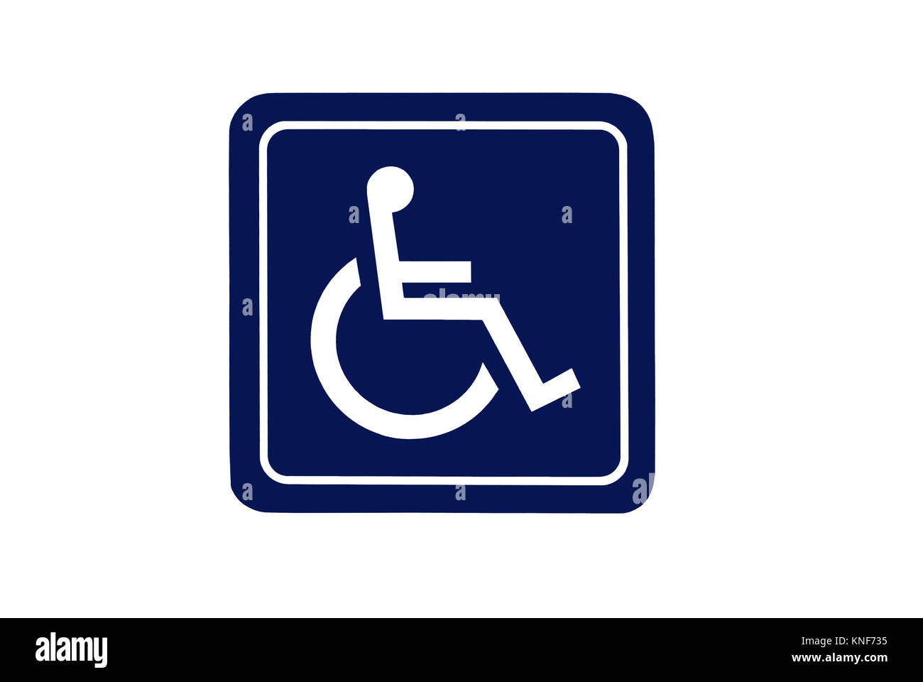 Dark blue handicap sign isolated on white background. For concepts such as health and medical, and handicap and - Stock Image