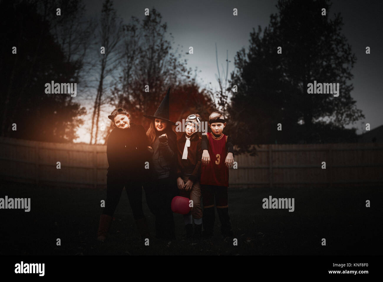 Portrait of boy and girls posed in halloween costumes in garden at dusk - Stock Image