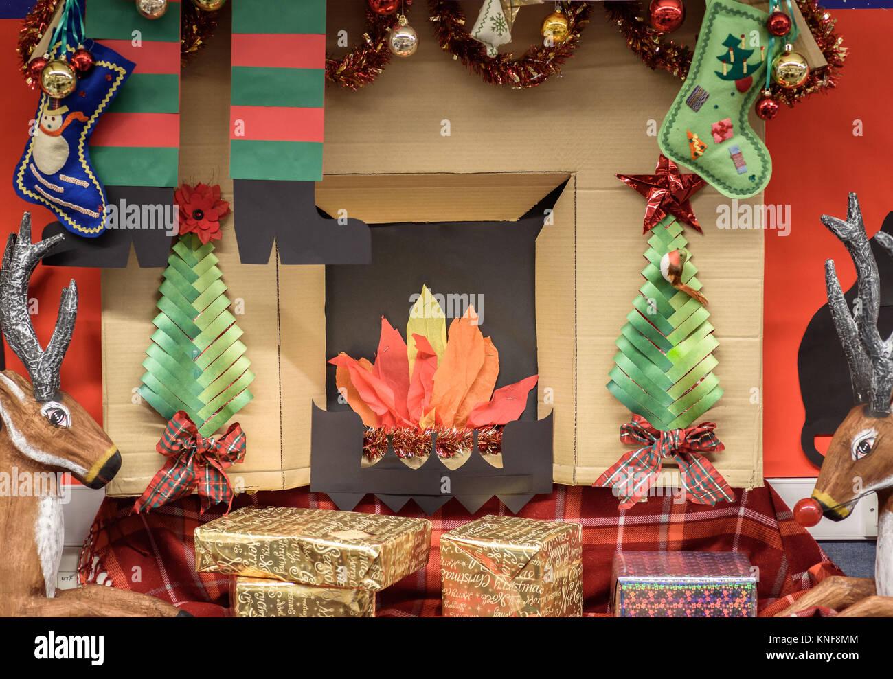 Cardboard Christmas Fireplace.A Handmade Christmas Fireplace Display Made From Cardboard