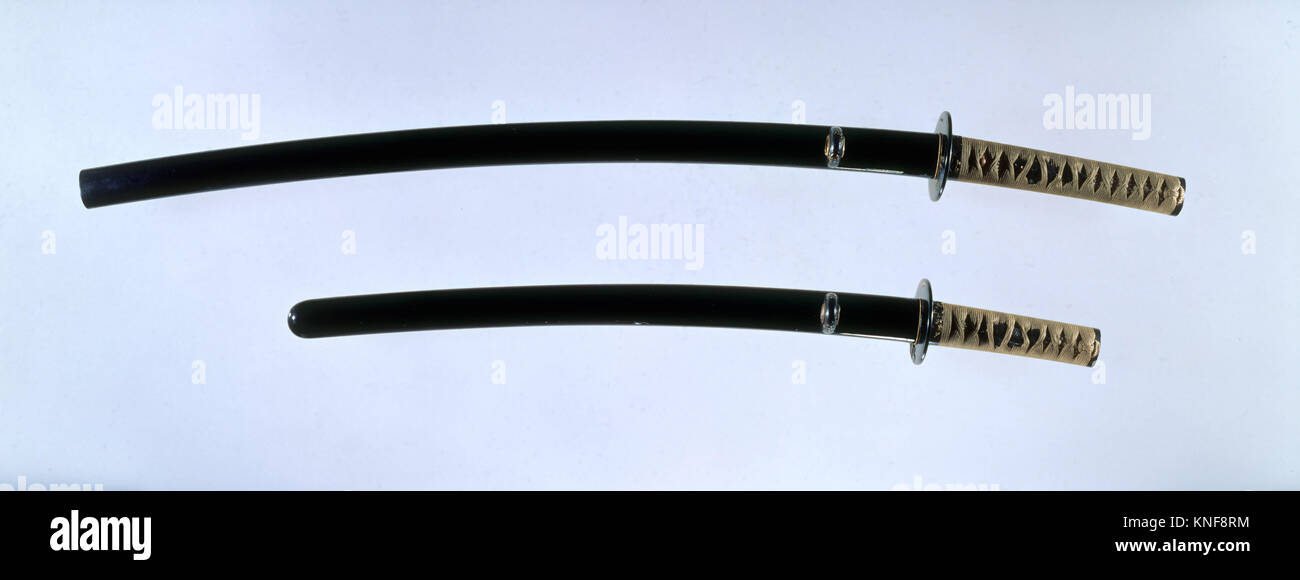 Blade and Mounting for a Sword (Katana). Swordsmith: Blade inscribed by Sukemitsu of Bizen (Japanese, Bizen, Muromachi - Stock Image