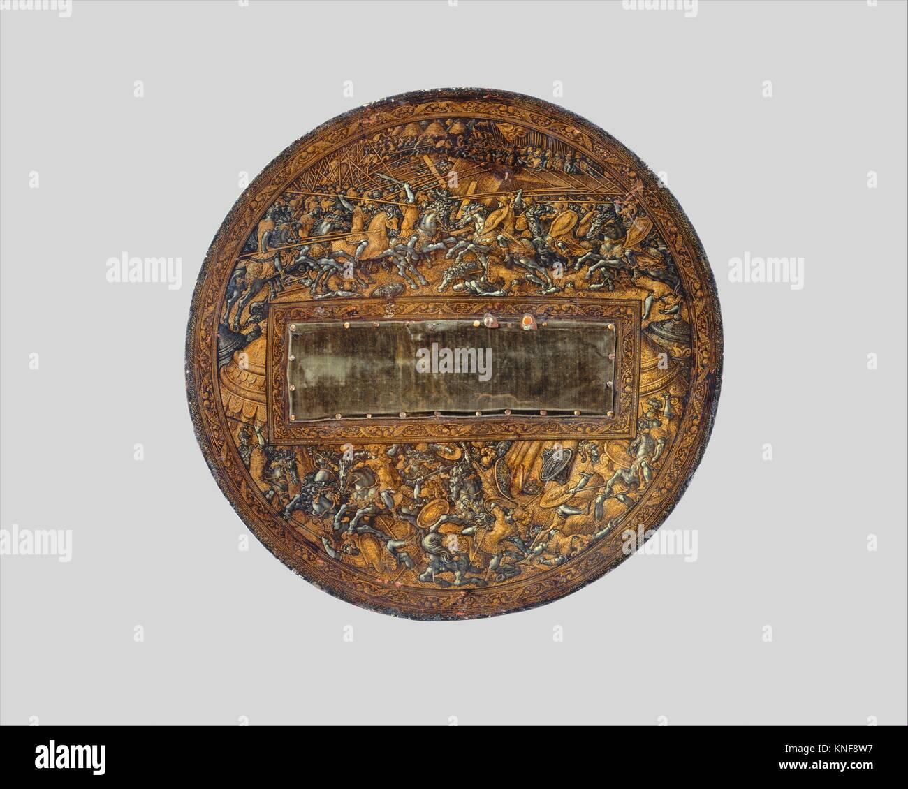 Shield. Maker: Attributed to Girolamo da Treviso (Italian, Treviso ca. 1498-1544 Boulogne-sur-Mer); Date: ca. 1535; - Stock Image
