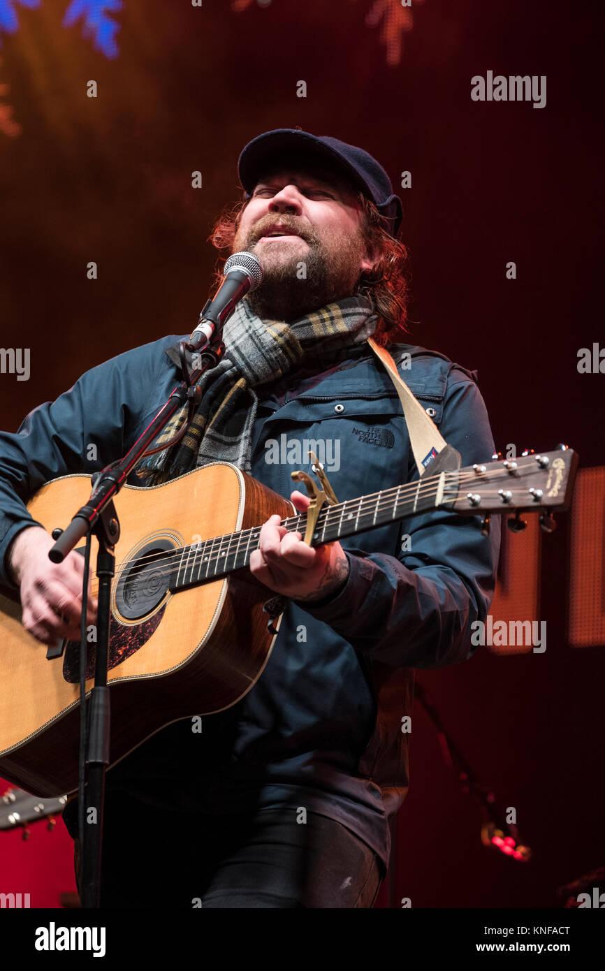 Scott Hutchison of Frightened Rabbit perform at  Sleep in the Park, held in Princes Street Gardens in Edinburgh, - Stock Image