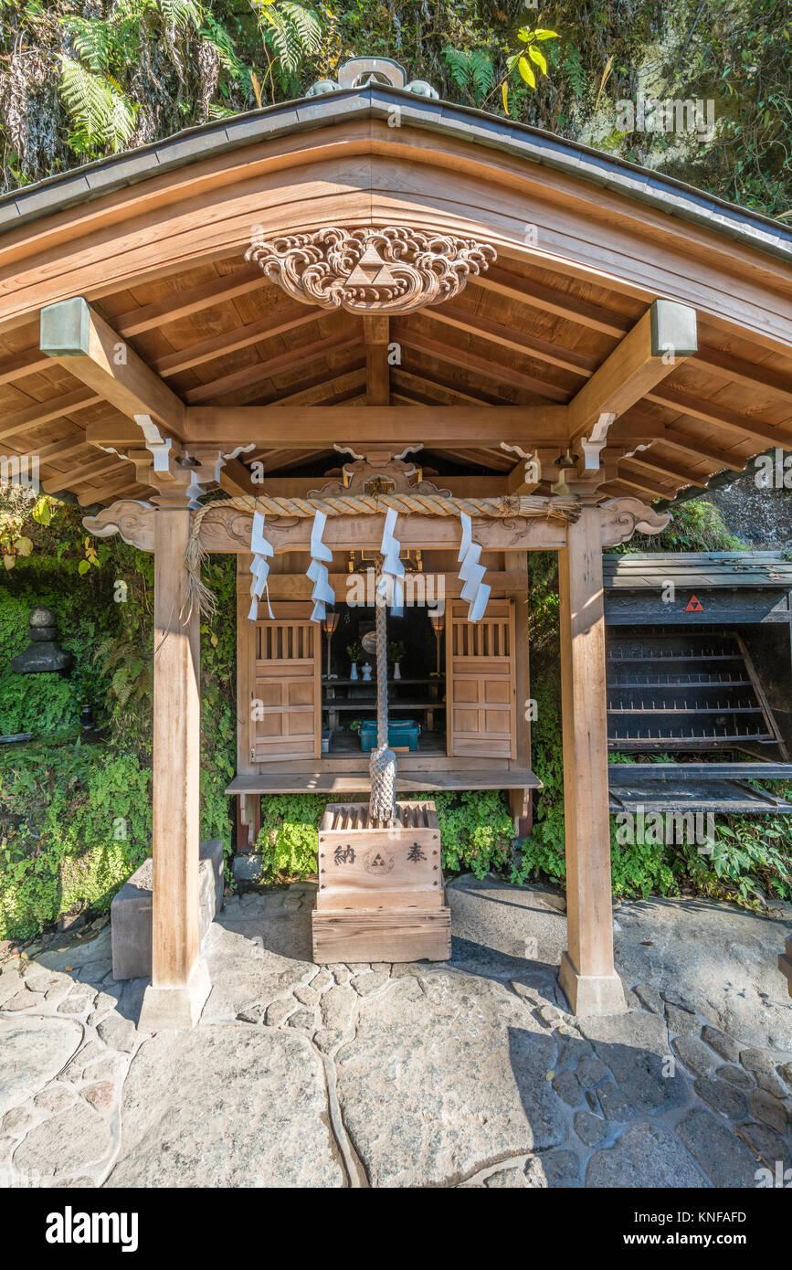 Kamakura, Kanagawa Prefecture, Japan - November 16, 2017 - Shimono sui Jinja, Small shinto shrine located next to - Stock Image