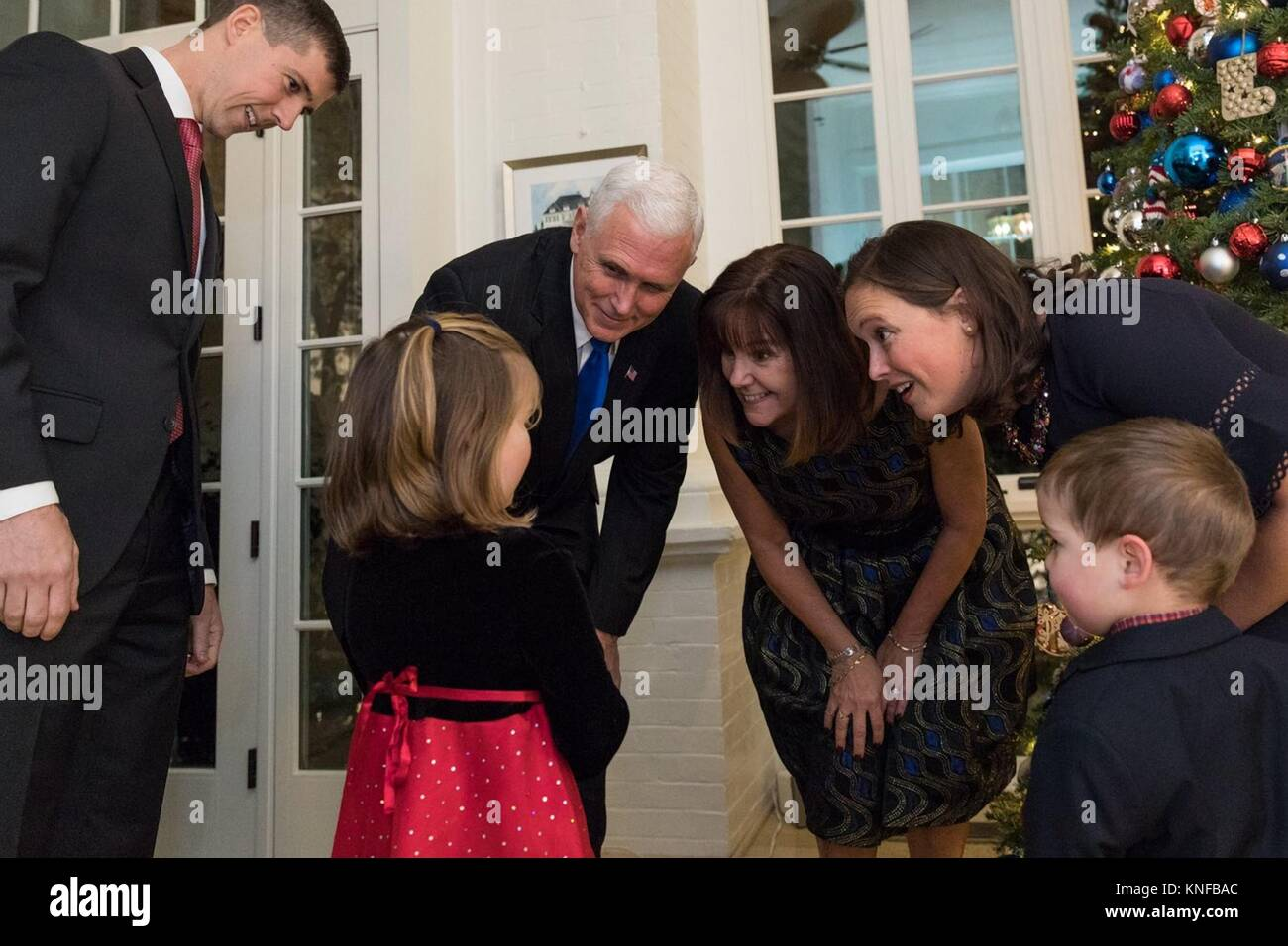 U.S. Vice President Mike Pence and his wife Karen Pence, center, greets children of United States Armed Forces members - Stock Image