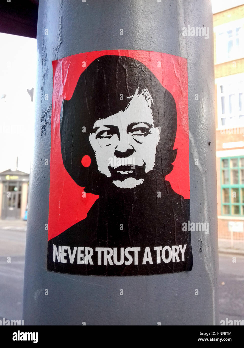Anti-Tory party sticker. Theresa May / Margaret Thatcher composite image seen in east London, UK. - Stock Image