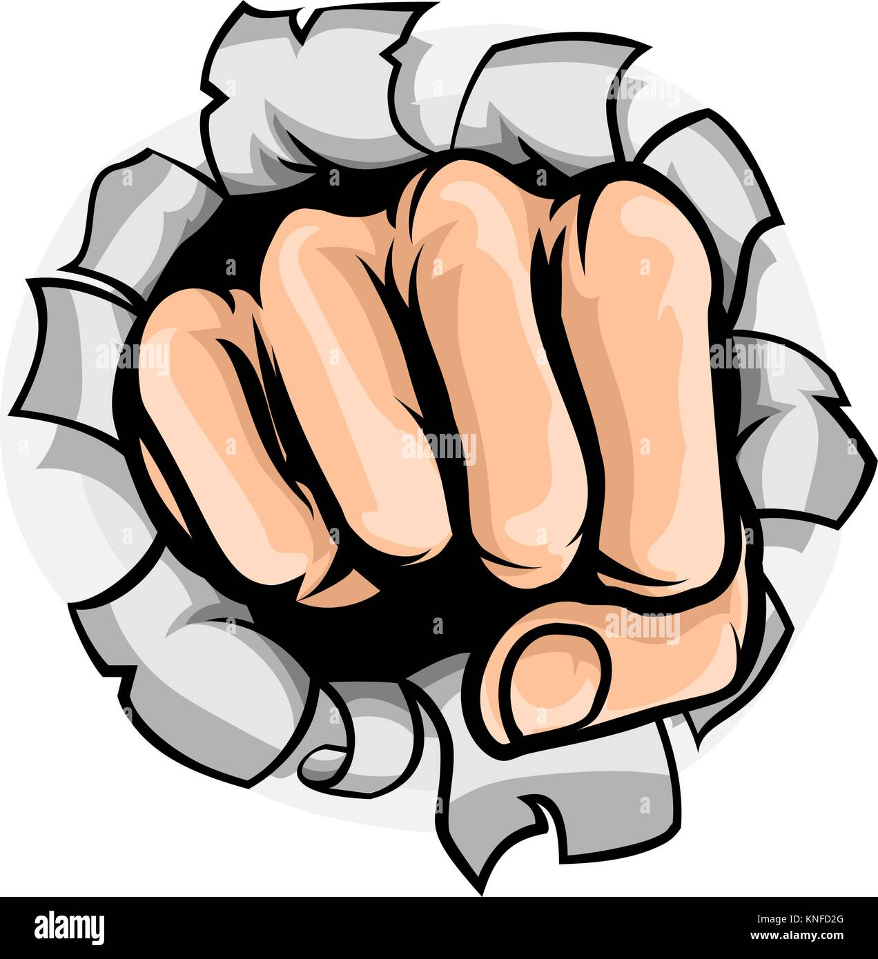 Fist Punching Hole - Stock Vector