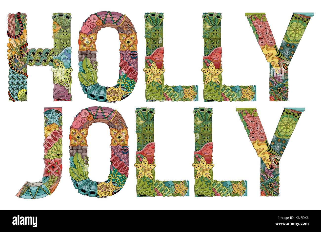Words HOLLY JOLLY. Vector decorative zentangle object - Stock Image