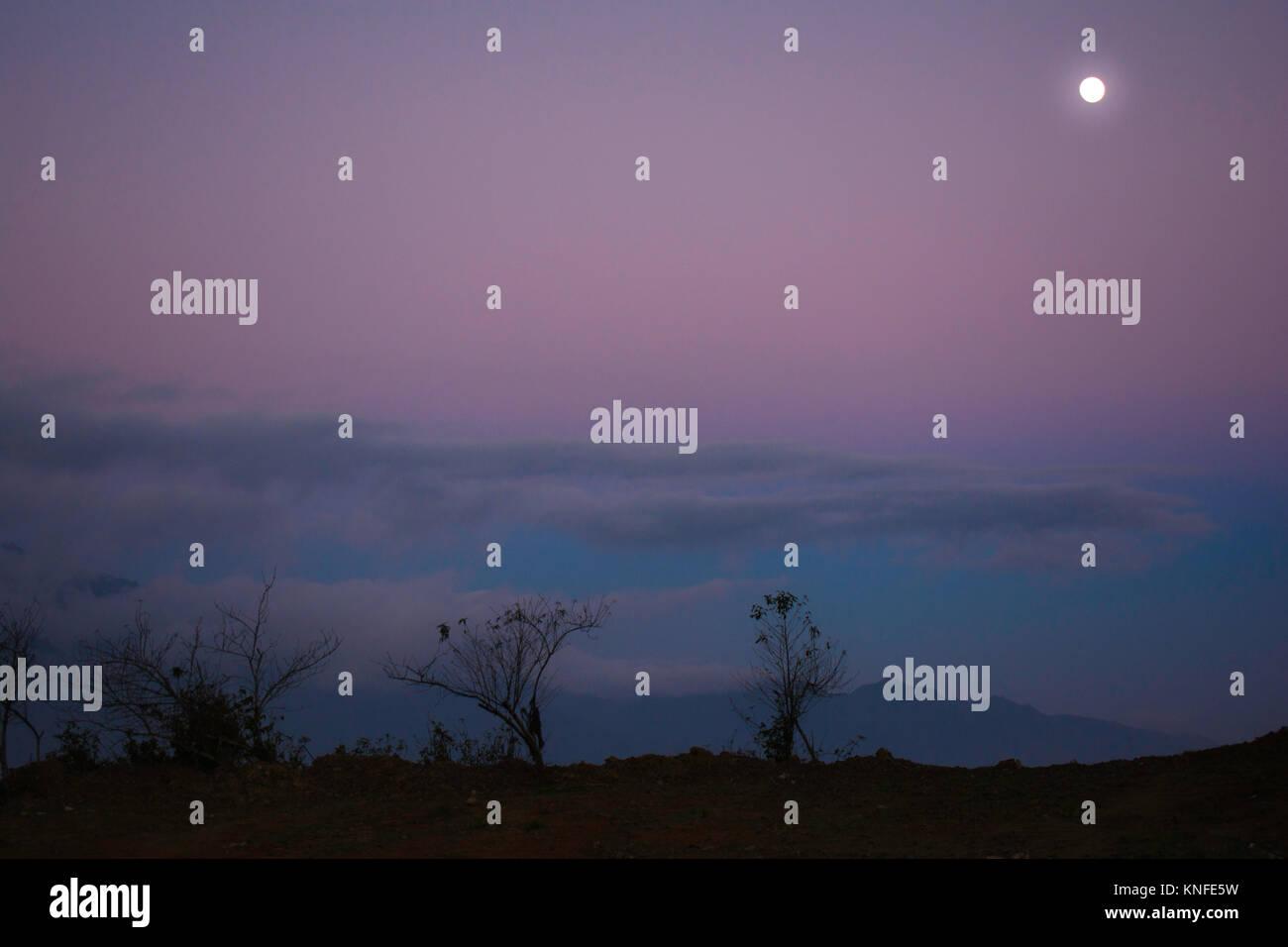 The Moon In Ta Xua, Viet Nam - Stock Image