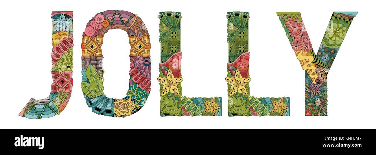 Word JOLLY. Vector decorative zentangle object - Stock Image