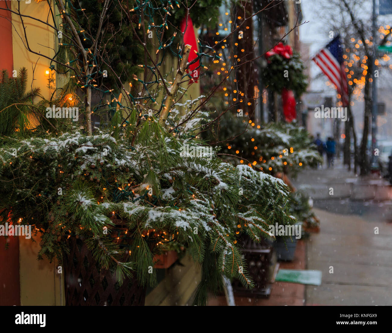 Snow Falls In Troy Ny And Accents The Christmas Window