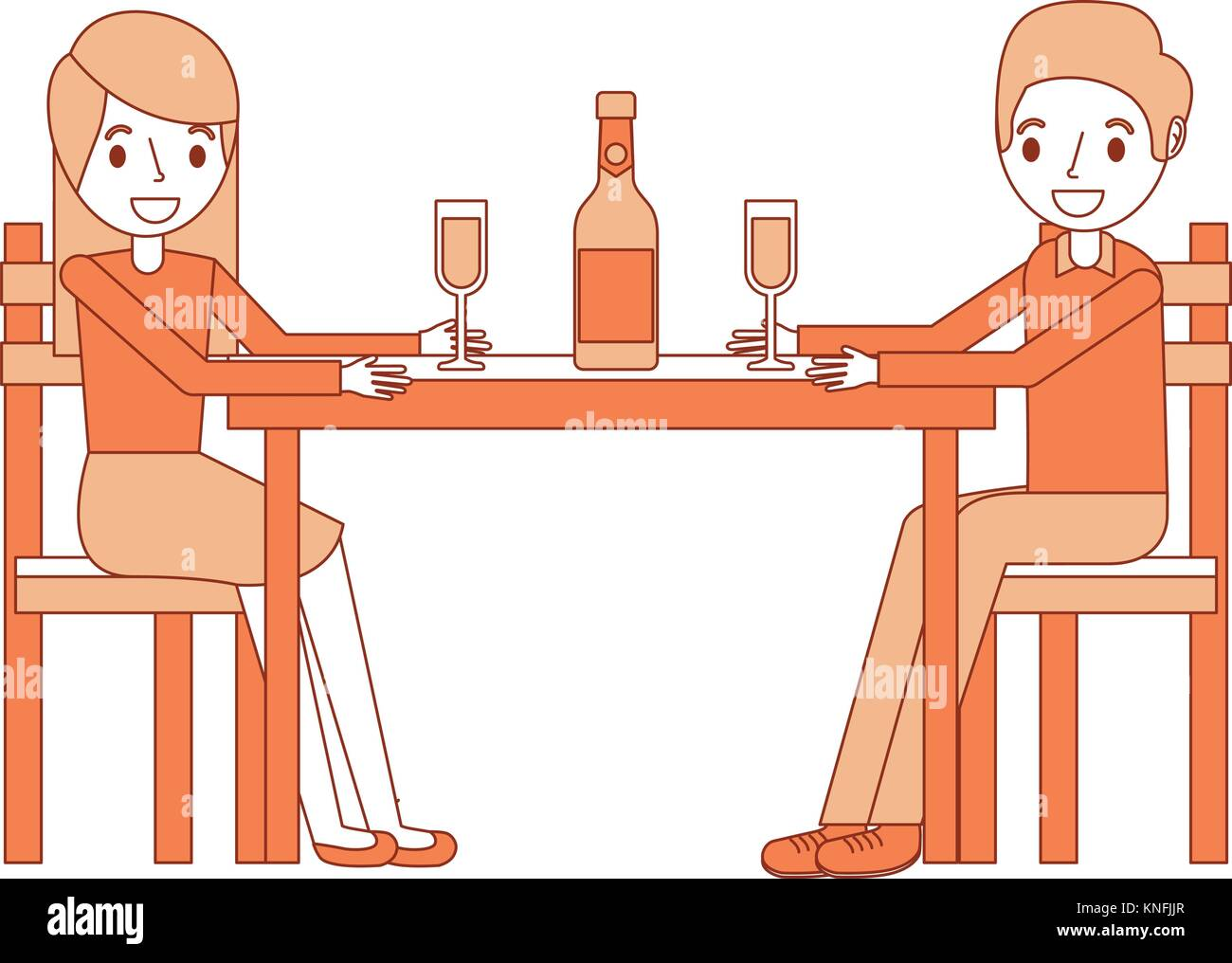couple parents sitting with wine bottle glass - Stock Vector