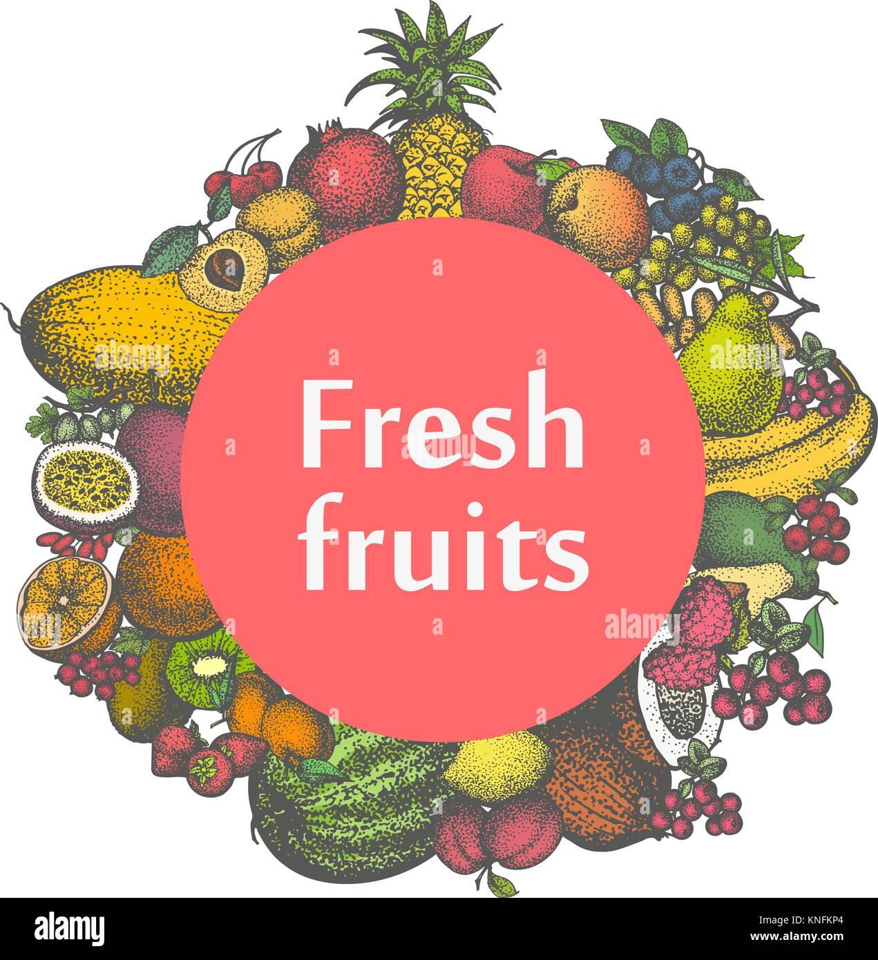 Vector mark sticker sign icon of fresh fruits - Stock Vector