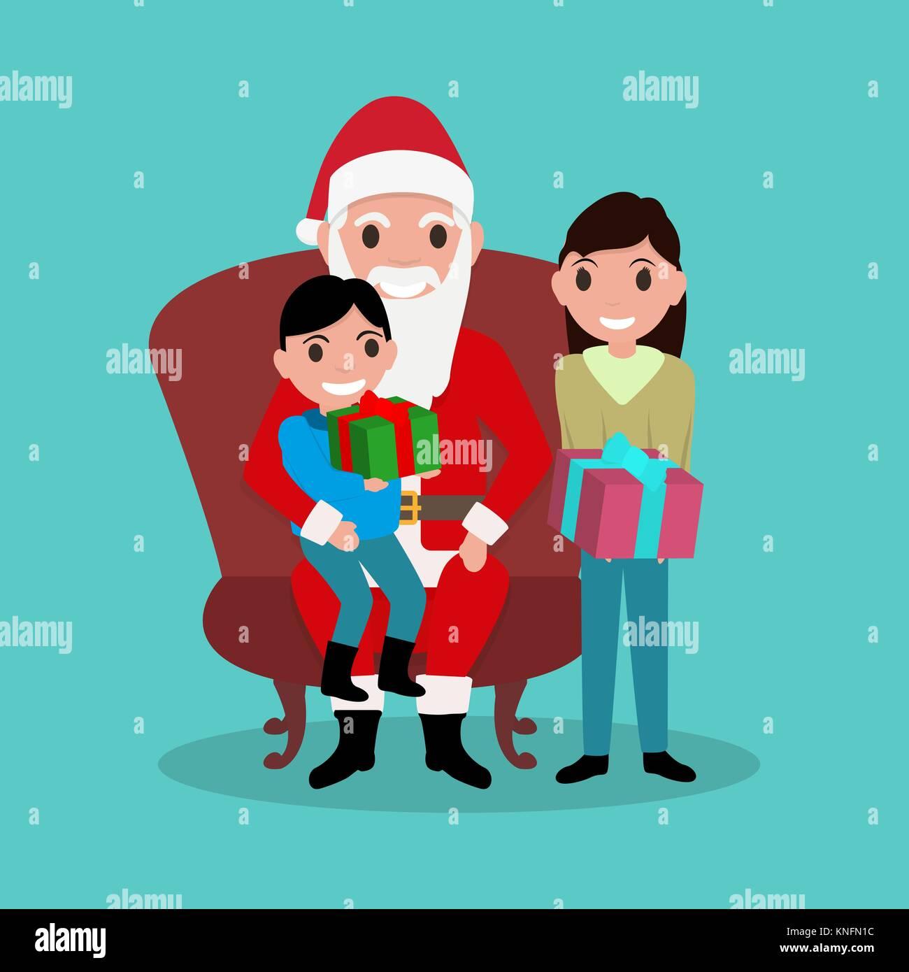 Cartoon Santa Claus sitting in chair with children - Stock Vector