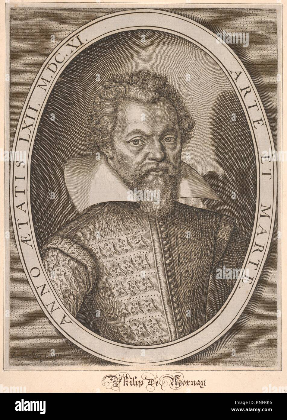 Philip de Mornay. Artist: Léonard Gaultier (French, Mayence 1561-1641 Paris); Date: 17th century; Medium: Engraving; Stock Photo