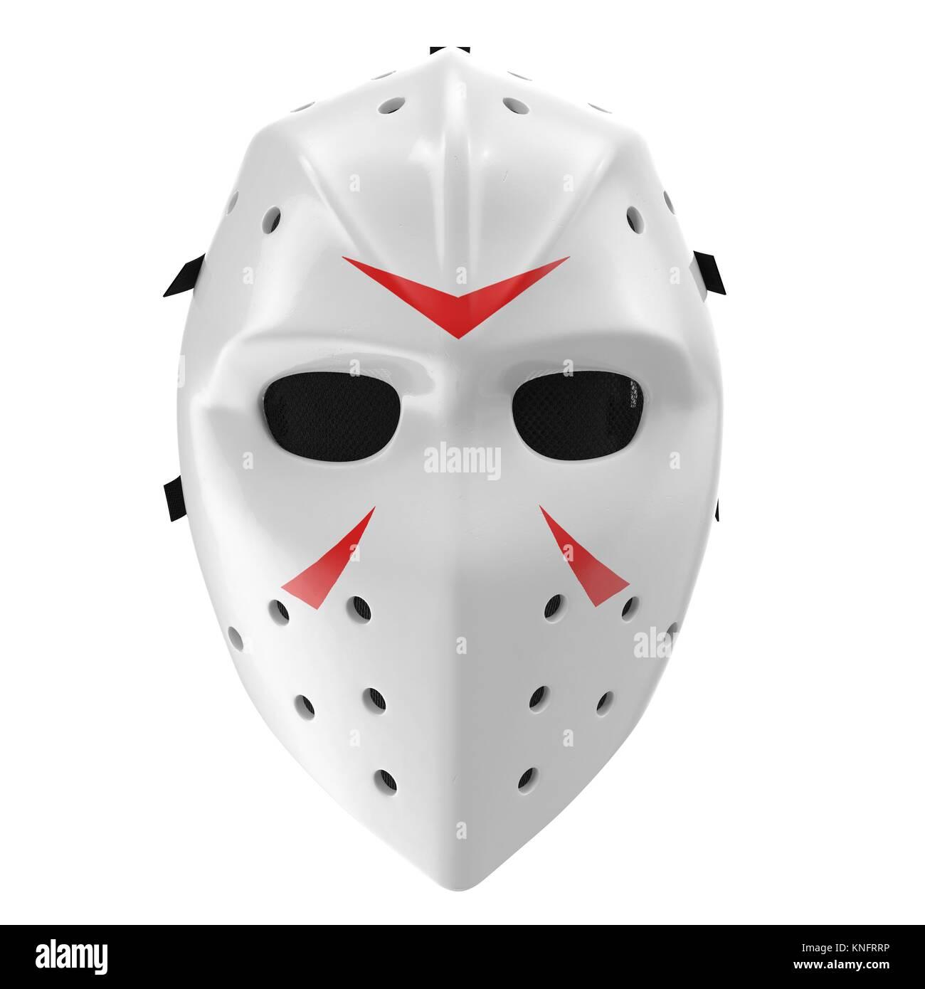 vintage hockey mask on white. Front view. 3D illustration - Stock Image