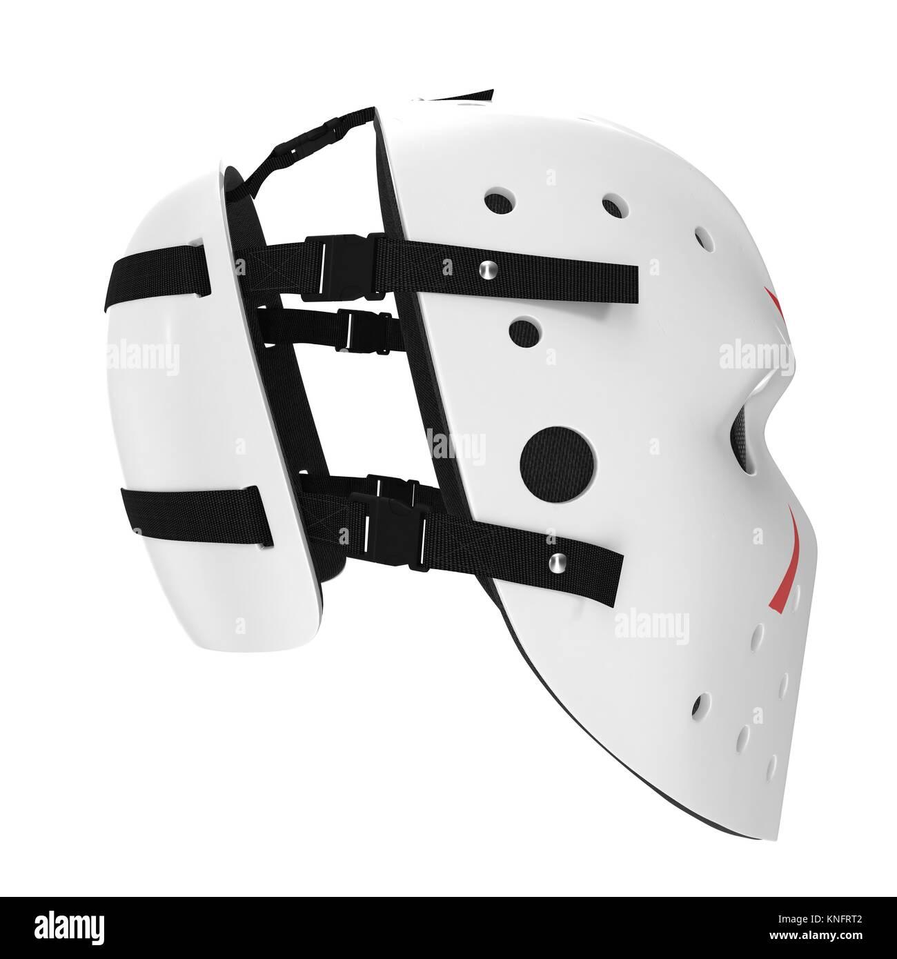 vintage hockey mask on white. Side view. 3D illustration - Stock Image
