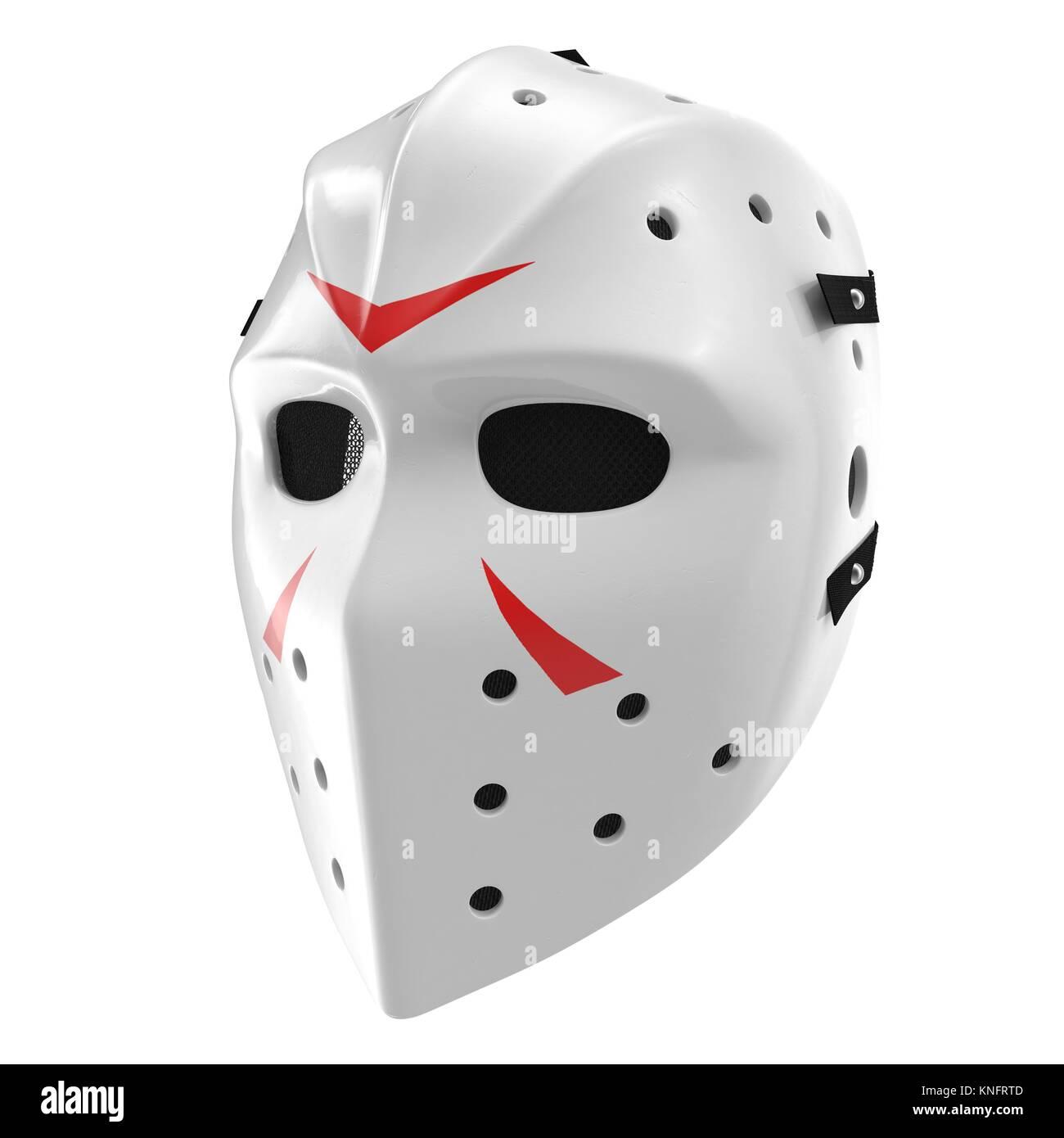 Scary hockey Halloween mask on white. 3D illustration - Stock Image