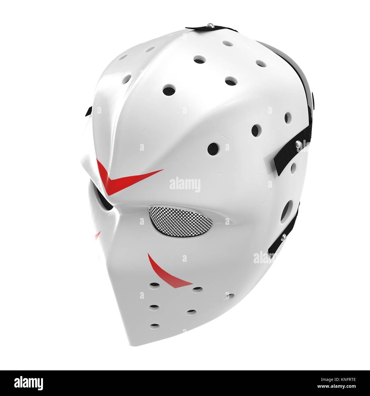 vintage hockey mask on white. 3D illustration - Stock Image