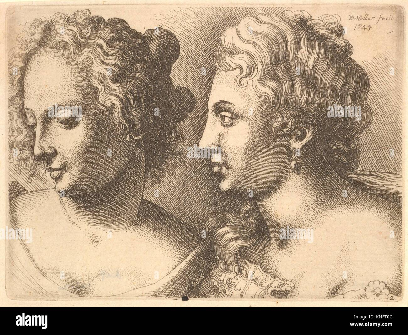 Heads of two young women. Series/Portfolio: Varie Figuræ et Probæ; Etcher: Wenceslaus Hollar (Bohemian, - Stock Image