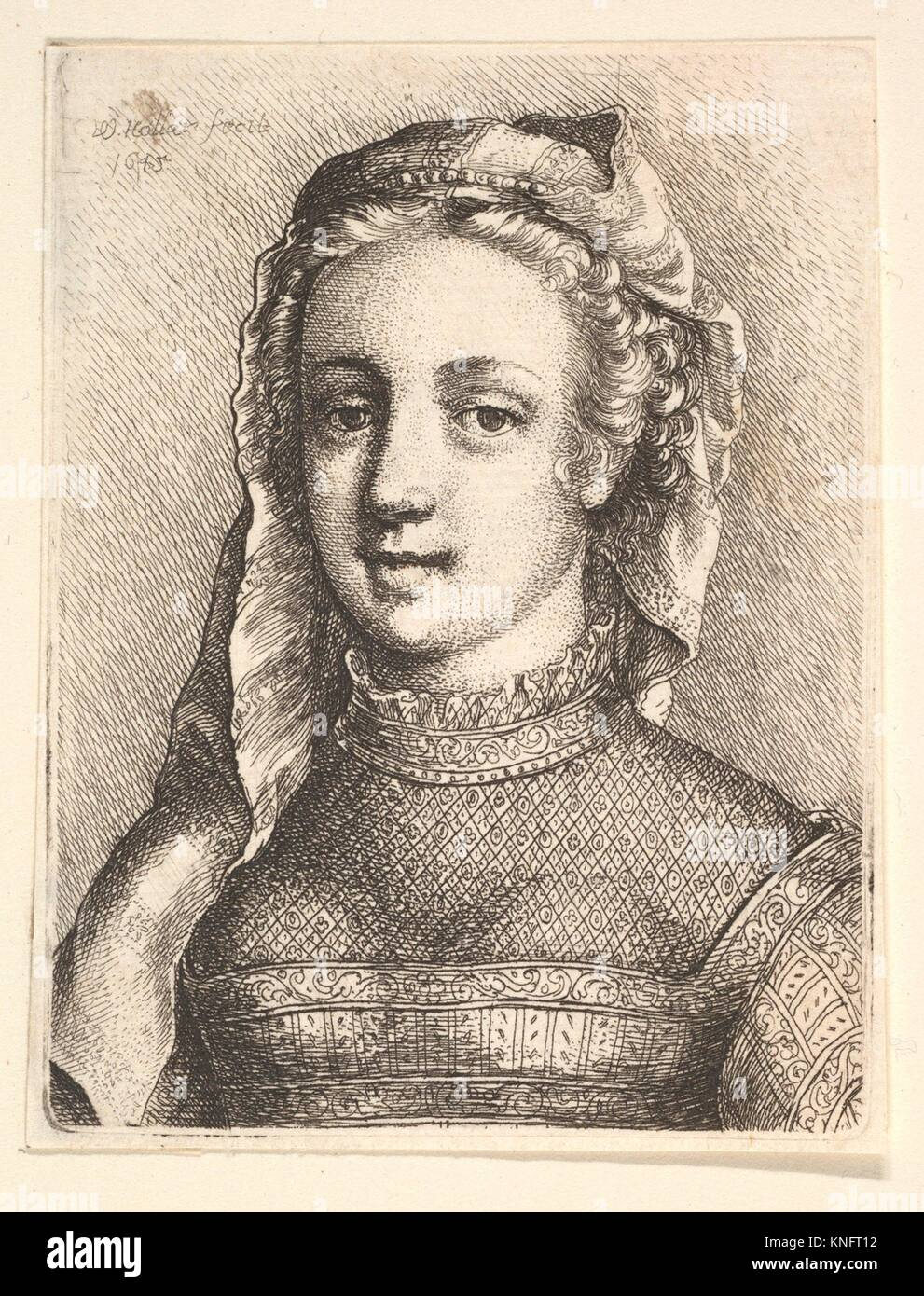 Head and shoulders of a woman with a veil and diaphanous neckware. Artist: Wenceslaus Hollar (Bohemian, Prague 1607 - Stock Image