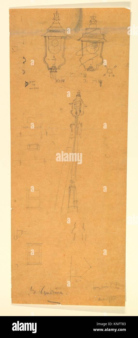 Studies of a Lamp Standard. Artist: Sir Edwin Landseer Lutyens (British, London 1869-1944 London); Date: late 19th - Stock Image