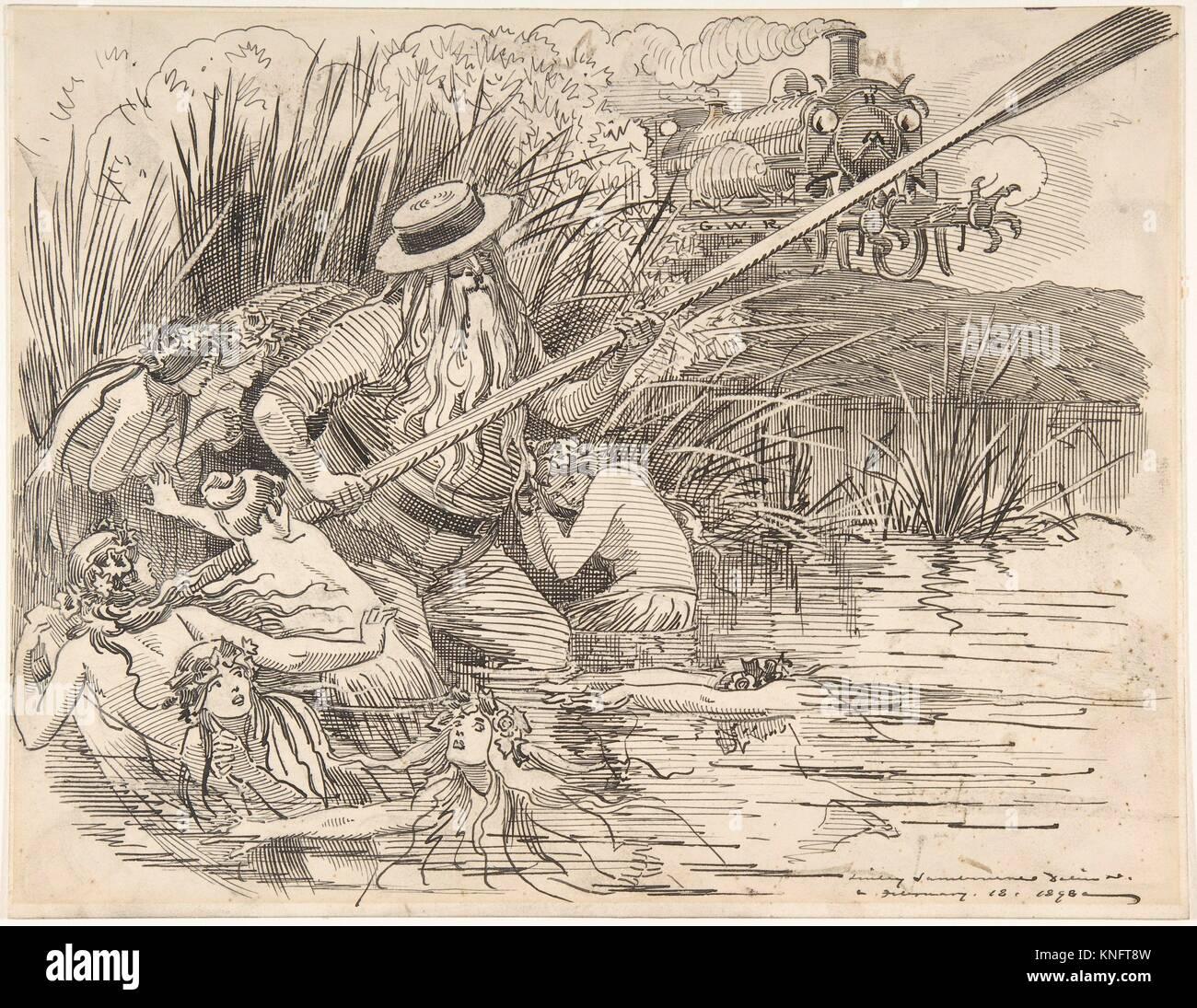 Cartoon for Punch (The Great Western Railway), Feb. 18, 1898. Artist: Sir (Edward) Linley Sambourne (British, London - Stock Image