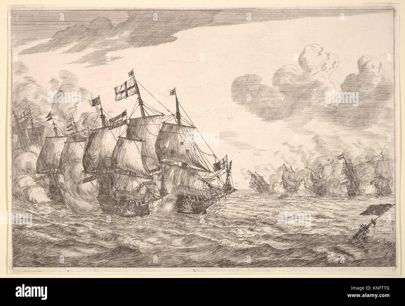 Naval Battle. Artist: Reinier Nooms, called Zeeman (Dutch, Amsterdam ca. 1623-1664 Amsterdam); Date: 17th century; Medium: Etching; state II; Stock Photo