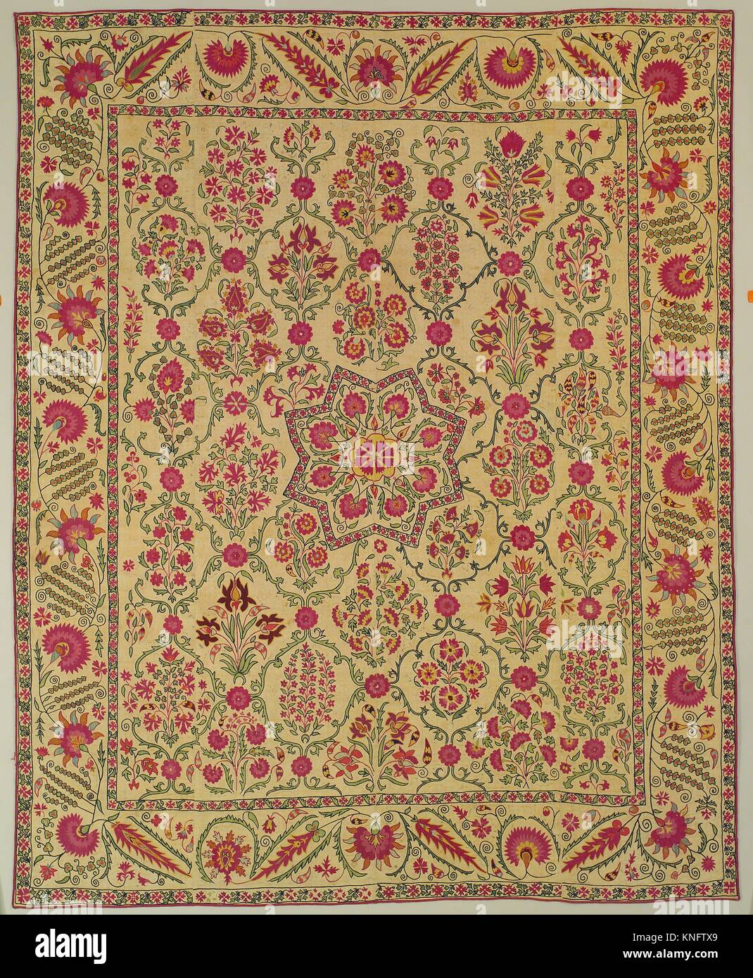 Hanging. Date: early 19th century; Geography: Attributed to present-day Uzbekistan, Nurata; Medium: Silk embroidery - Stock Image