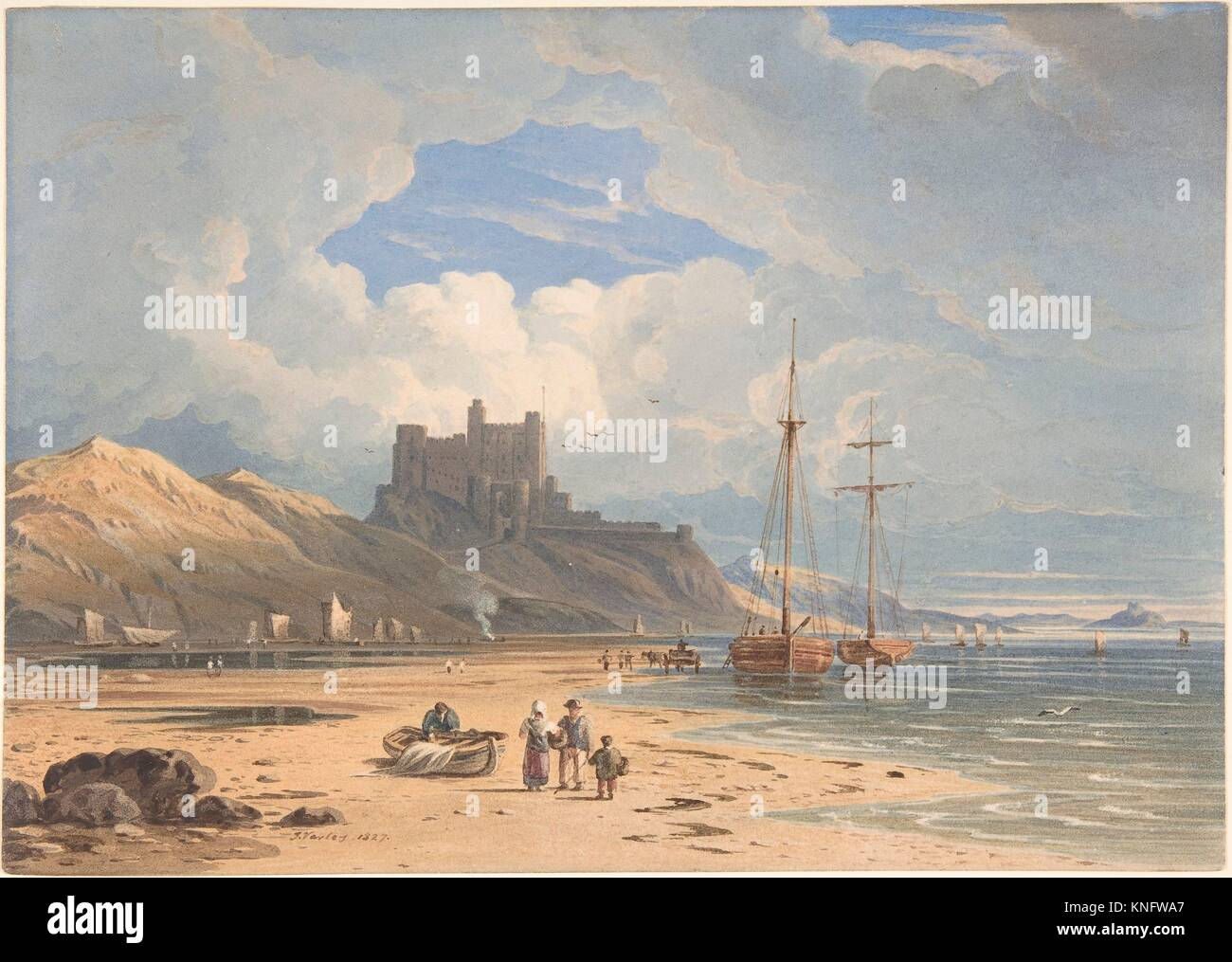 Bamborough Castle from the Northeast, with Holy Island in the Distance, Northumberland. Artist: John Varley (British, - Stock Image