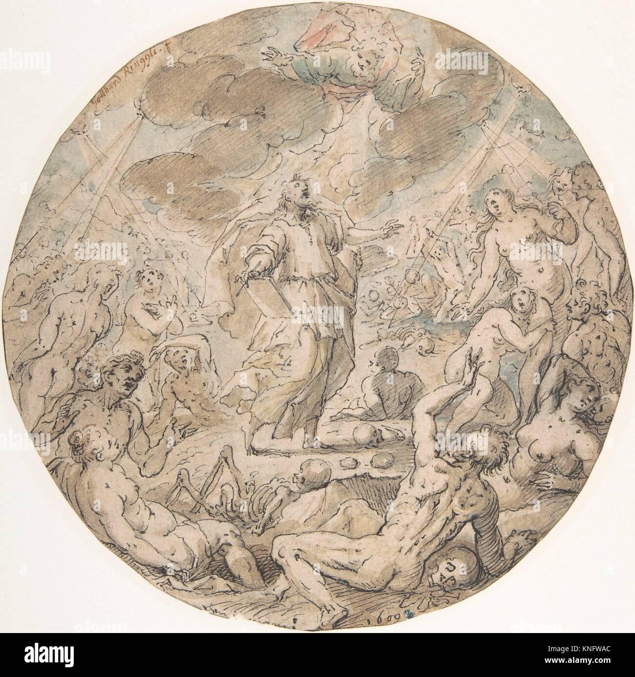 Ezekiel in the Valley of the Dry Bones. Artist: Georg Pecham (German, Munich ca. 1568-1604 Munich); Former Attribution: - Stock Image