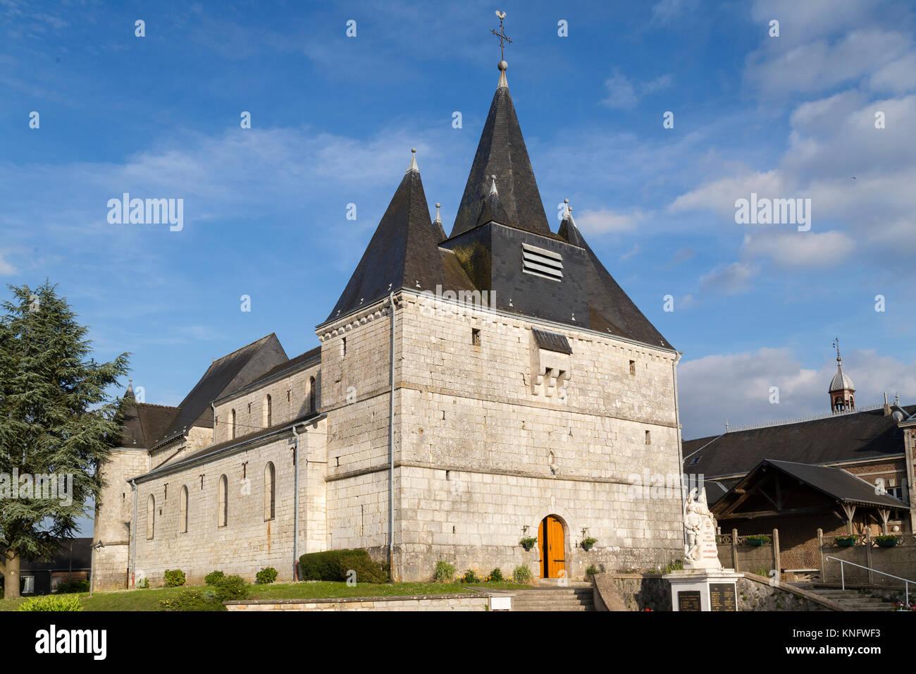 France, Ardennes (08), parc naturel régional des Ardennes, Liart, église fortifiée Notre-Dame du - Stock Image