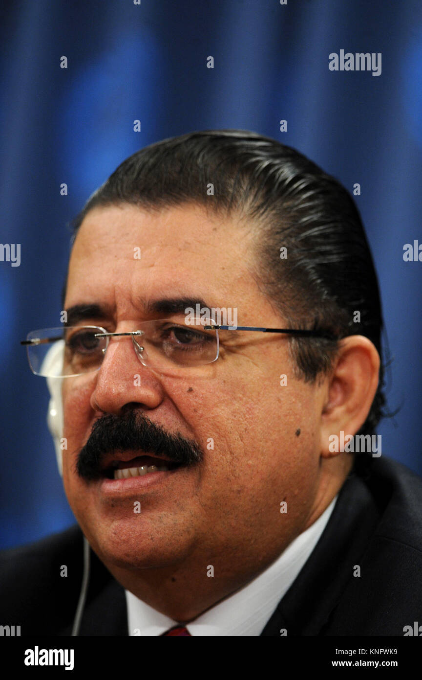 Ousted Honduran president Manuel Zelaya at a press conference at the United Nations appealing for help in his quest to return to office after a military coup in his home country removed him from power. New York City. June 30, 2009. Credit: Dennis Van Tine/MediaPunch Stock Photo
