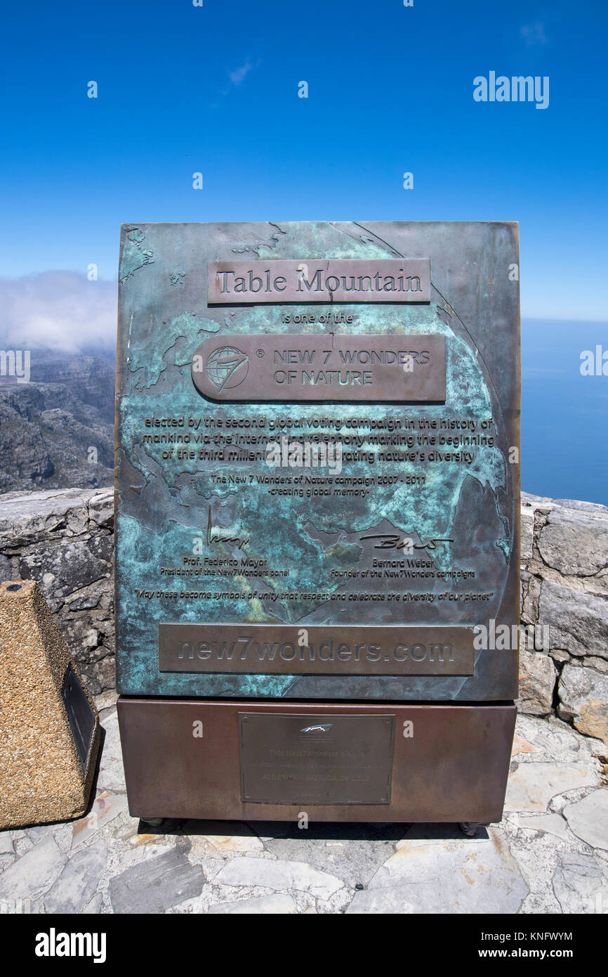 Sign at the top of Table Mountain in Cape Town, South Africa, explaining that it's one of the new seven wonders - Stock Image