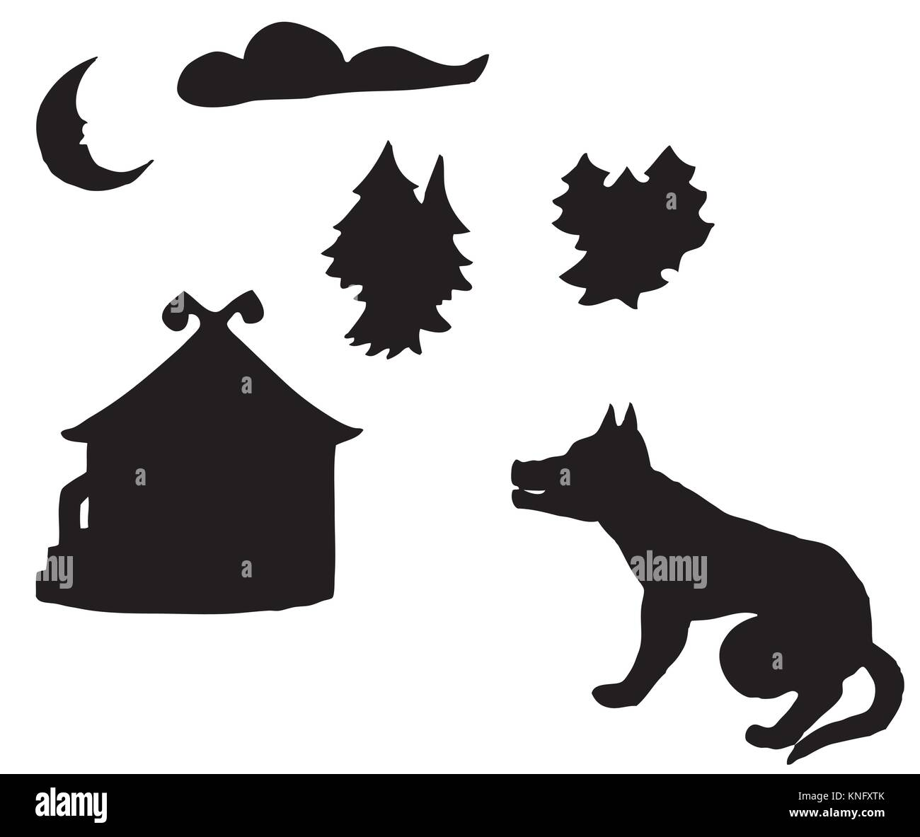 silhouettes on fairy tales - Stock Image