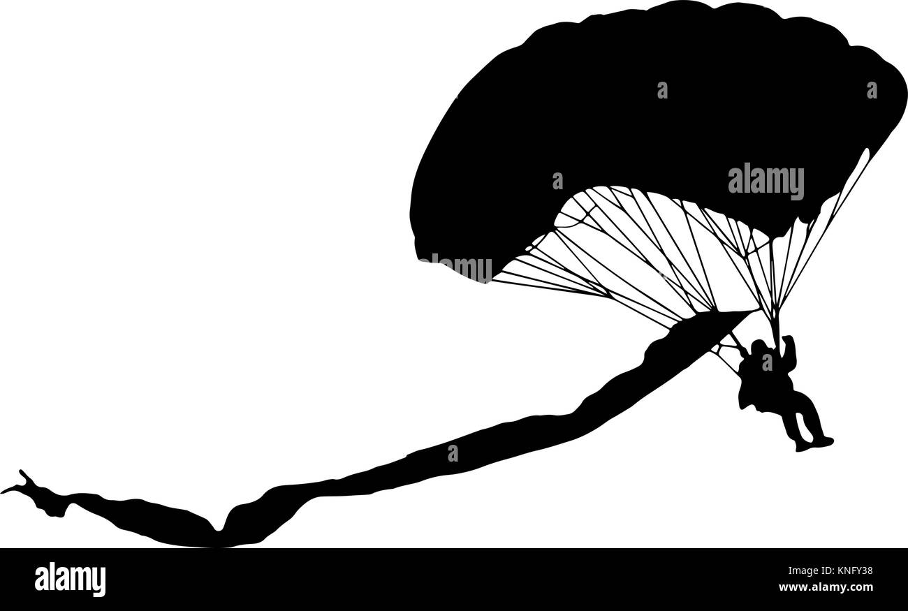 lowering parachutist with multicolored parachute vector silhouette Stock Vector
