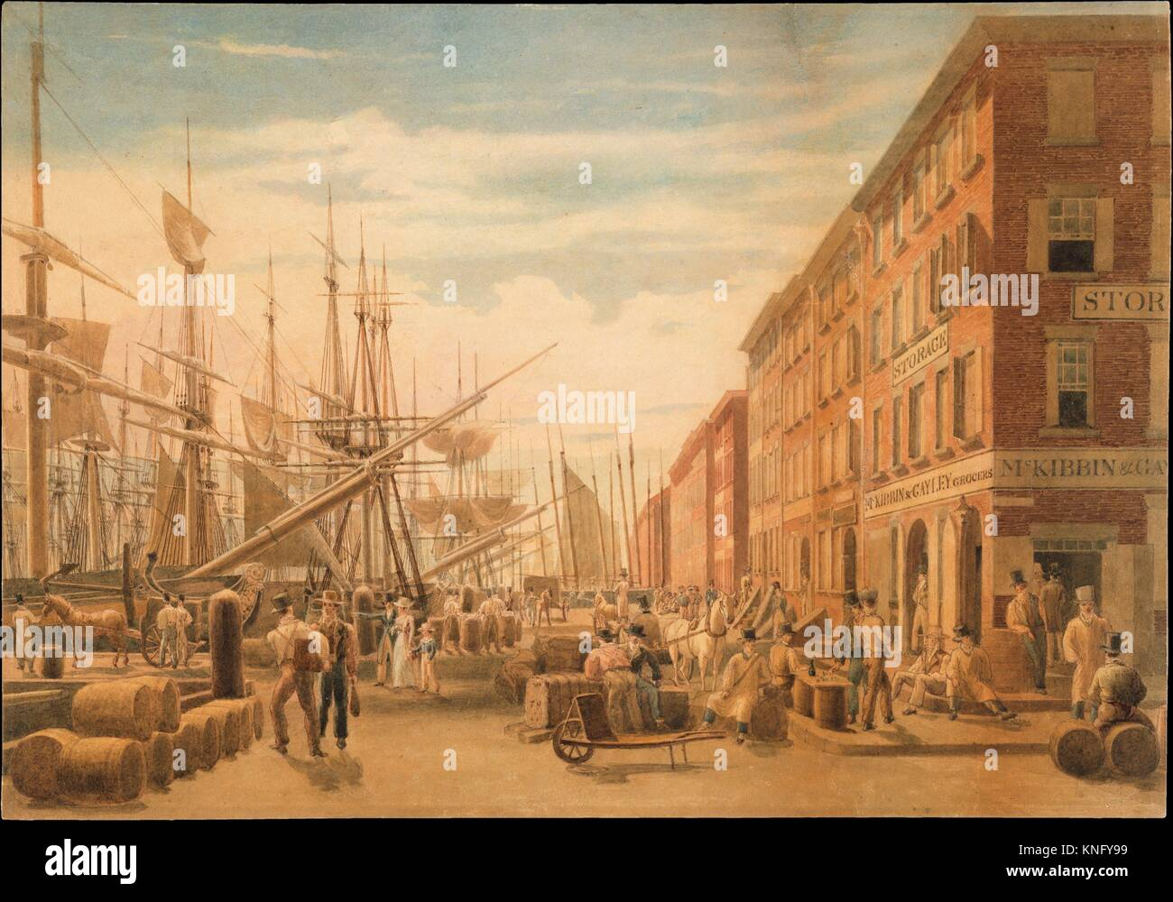 View of South Street, from Maiden Lane, New York City. Artist: William James Bennett (American, London 1787-1844 - Stock Image