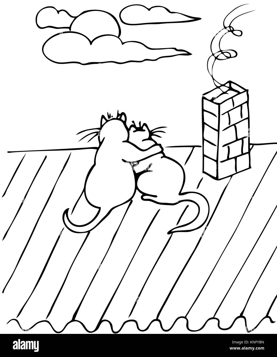 Couple Of Cats On The Roof Vector Drawing Stock Vector Art