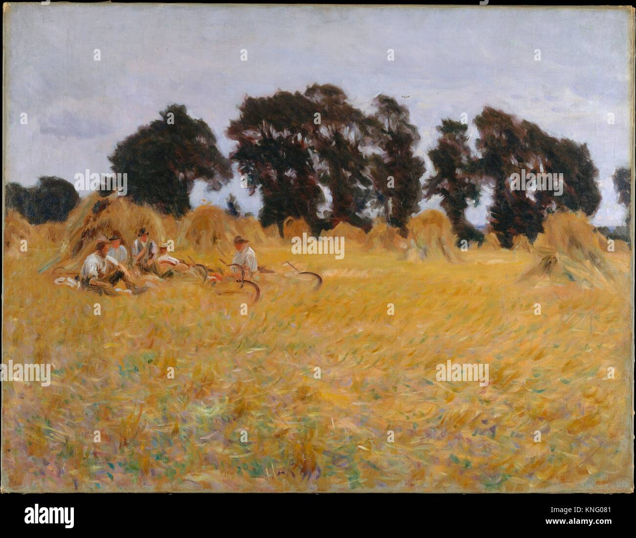 Reapers Resting in a Wheat Field. Artist: John Singer Sargent (American, Florence 1856-1925 London); Date: 1885; - Stock Image