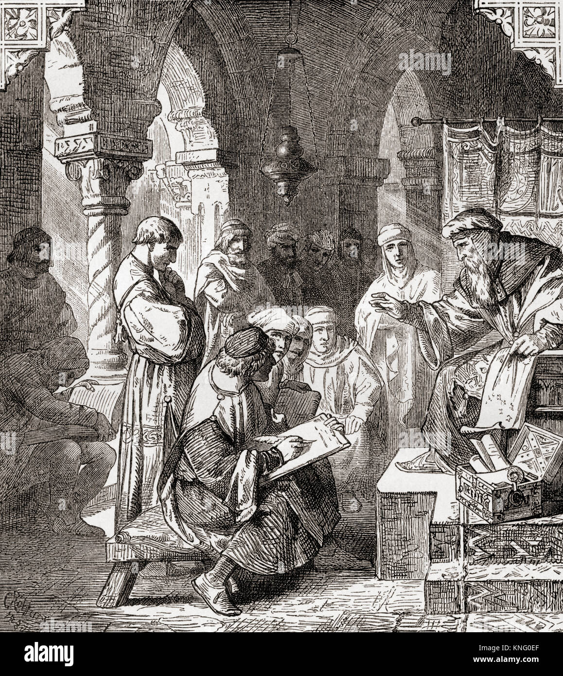 Arab students learning alchemy and astrology in a school in Cordoba, Spain in the 10th century.   From Ward and - Stock Image