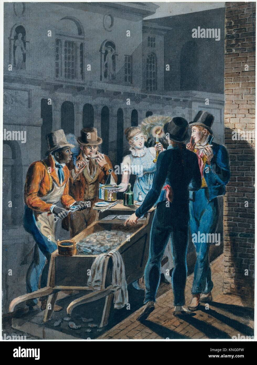 Nightlife in Philadelphia-an Oyster Barrow in front of the Chestnut Street Theater. Artist: Attributed to John Lewis - Stock Image