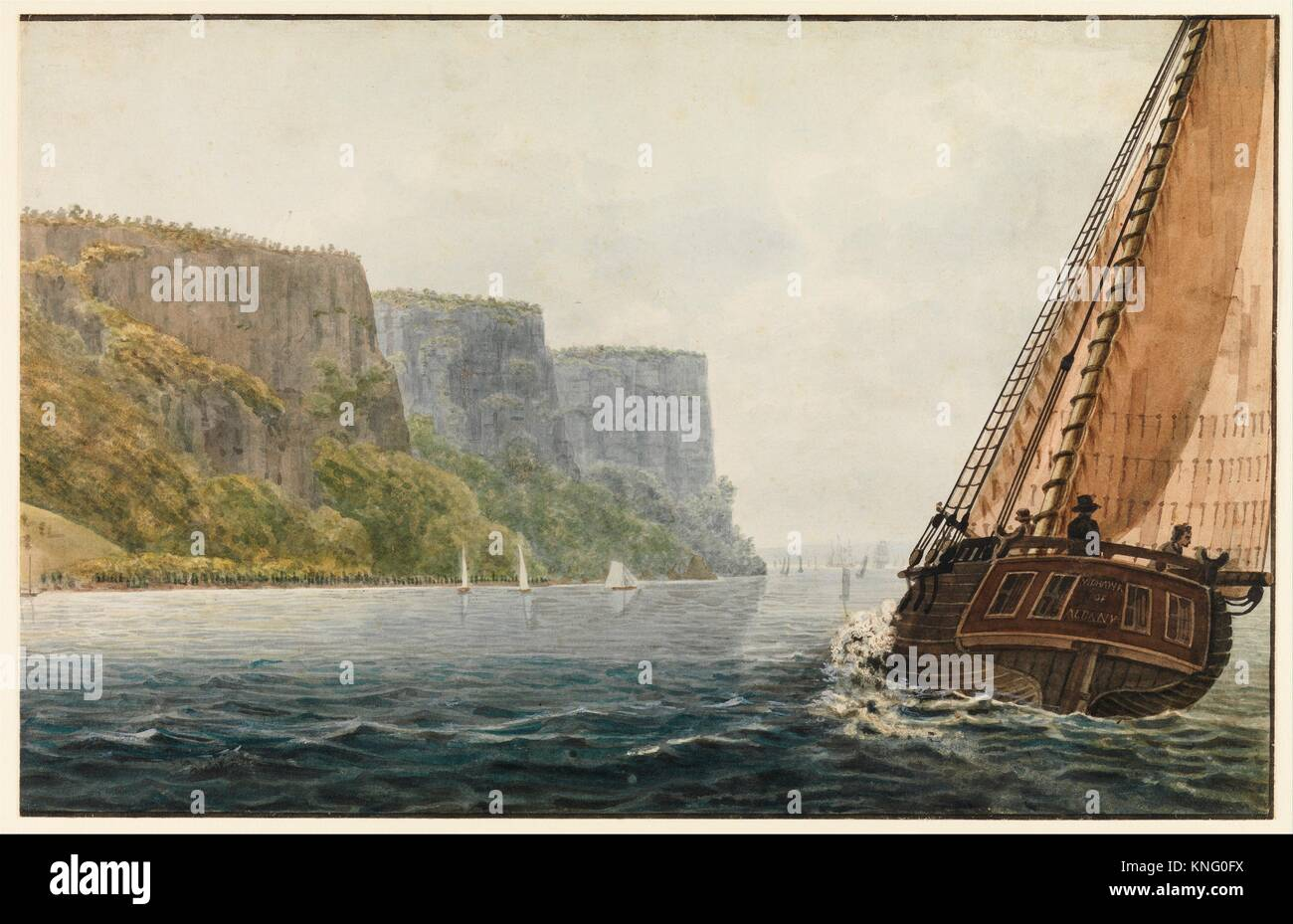 The Packet Mohawk of Albany Passing the Palisades. Artist: Pavel Petrovich Svinin (1787/88-1839); Date: 1811-ca. - Stock Image
