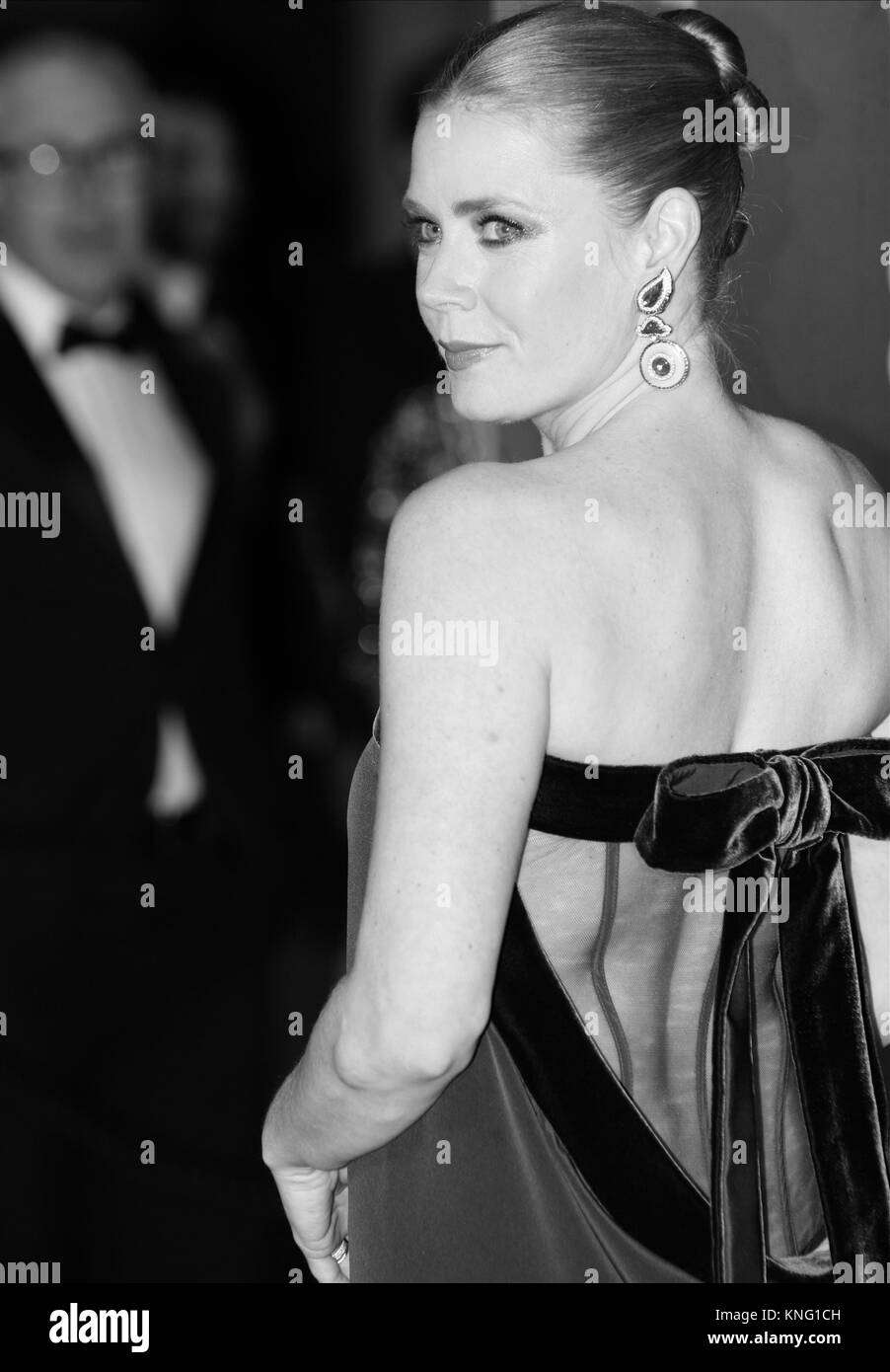 Image digitally altered to monochrome Amy Adams attends The EE British Academy Film Awards (BAFTA) at the Royal Stock Photo