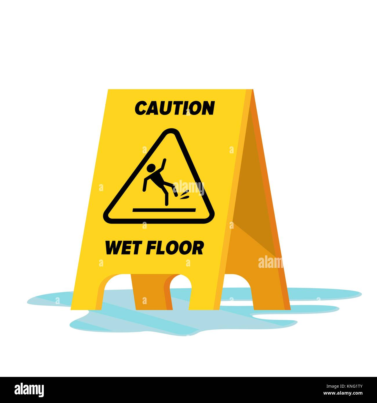 Wet Floor Vector. Classic Yellow Caution Warning Wet Floor Sign. Isolated Flat Illustration. - Stock Vector